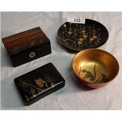 4 Asian Lacquerware Pieces: 2 Boxes, 1 Plate, 1 Bowl