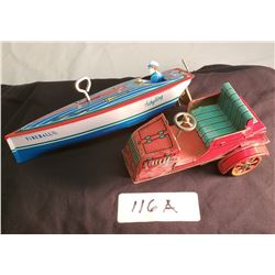Vintage Tin Car, Wind Up and Working & Boat