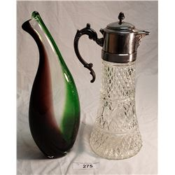 Art Glass Vase Green, Clear & Burgundy and a Press Glass Claret w/Silver Plated Top, Lid, & Handle