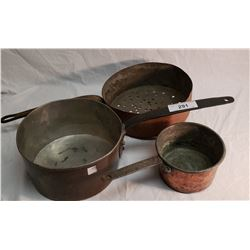 3 Early Victorian Copper pots