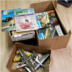 2 Boxes of Model Railroad Magazines & 4 Assembled Airplane Models in Various Condition.
