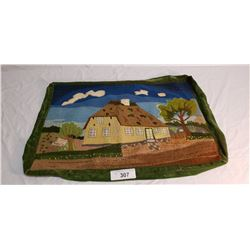 Hand Stitch Vintage Pillow Cover of House & Trees
