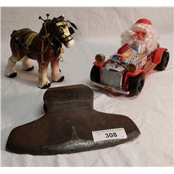 Ceramic Work Horse, Antique Broad Axe. Head, Battery Operated Vintage Santa in Car