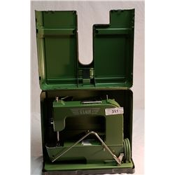 Vintage Green Elna Portable Sewing Machine in Carrying Case