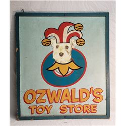 Wooden Ozwald's Toy Store Sign