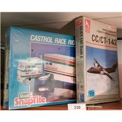 2 Model Kits: 1 Tractor Trailer & 1 Military Aircraft