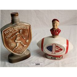 Jim Beam Pied Piper Decanter & Jim Beam 1971 National Football Champion Decanter