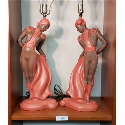 Pair of C. Romanelli Male & Female Matador Lamps