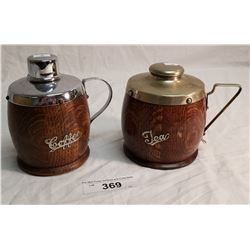 Oak Tea & Coffee Vintage Containers