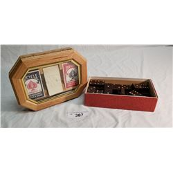 Box of Bakelite Dominoes & Box w/ Pen, Pad & 2 Decks of Cards