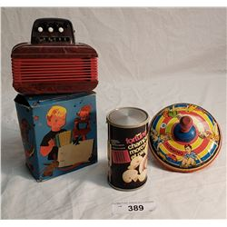 Toy Magnus Accordion in Box, Toy Tin Wyandotte Spinning Top, Mushroom Can Radio