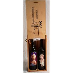 2 Marcin Munro Wine Bottles in Wooden Box