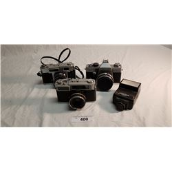 3 Vintage 35mm Cameras & Flash