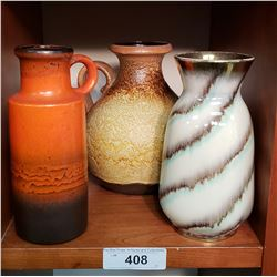 3 - 1960's West German Pottery Vases