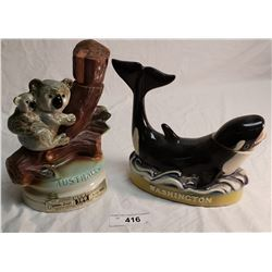 Ezra Brothers Killer Whale Decanter & Jim Beam Koala bear Decanter