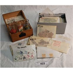 Vintage Gold Medal Flour Oak Recipe Box & Box Lot of Foreign Various Stamps & 3 Sheet Glass