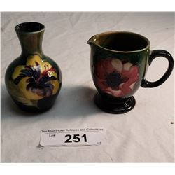 1 Moorcroft vase, Label Potter to the Queen & 1 Moorcroft Creamer impressed Potter to the Queen