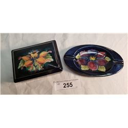1 Moorcroft Ashtray Oval w/Paper Label Potter to the Queen, 1 moorcroft Lidded Box