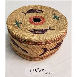 Large Nuu Chah Nulth Sewing Basket, Great Color
