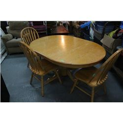 "Oak Pedestal Dining Table w/3 Chairs - 60"" with Leaf - 42"" Without **Must Pick Up"