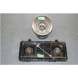 2 Burner Propane Stove & Coleman Gas Heater ** Must be Picked Up