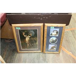Oak Framed Prints (1) 3 Big Horn Sheep (2) White Tail Deer ** Glass is broken