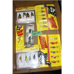 Flat of Mepps, Len Thompson & Panther Martin Lures