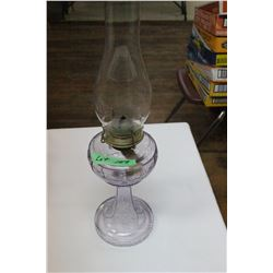 Clear Glass Oil Lamp - Has turned Purple (Font & Base)
