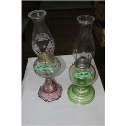 2 Glass Coal Oil Lamps - 1 is a Sweetheart Lamp - 2nd Lamp is Clear Green