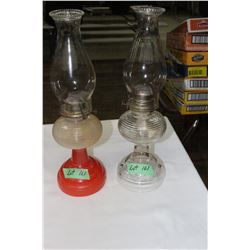 2 Beehive Coal Oil Lamps