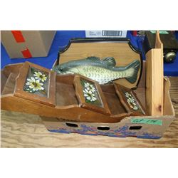 Box w/Letter Holder, Fish Plaque & Long Matches