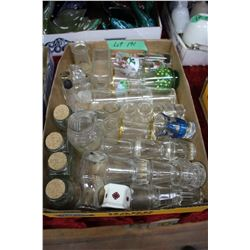 Flat w/Collection of Misc. Shot Glasses, Individual Creamers, Sm. Bottles & Stoppers