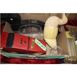 Box w/Decanters, Loonie Bank & Misc.
