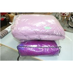 Bed Spread - Dbl. Size - Mauve Coloured & a Purple Pillow- In a Bag
