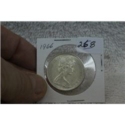 1966 Canada Silver Fifty Cent Coin