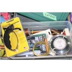 Storage Container (Green Top) w/Snare Wire, Copper Wire, Fly Line, Knife Sharpener & a Bird Call
