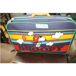 Snoopy Suitcase w/Contents & Charlie Brown Waste Can
