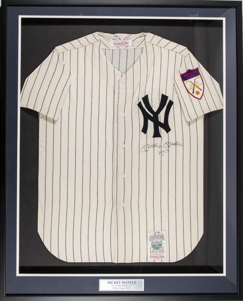 Image 1   Mickey Mantle Signed 1951 Yankees 34x41 Mitchell Ness Custom  Framed Jersey Display Inscribed cea412ecba3