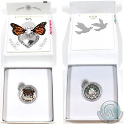 2016 Canada $10 & 2017 Canada $3 Celebration of Love Fine Silver Coin set (Tax Exempt). 2pcs.