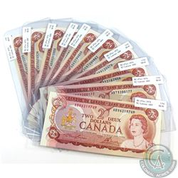 10x 1974 $2 Bank of Canada Notes with all Different Prefixes. 10pcs