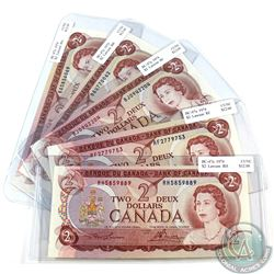 5x 1974 $2 Bank of Canada Note with all Different Prefixes. 5pcs