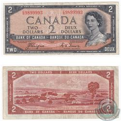 1954 $2 Bank of Canada Devil's Face Note with C/B Prefix and Coyne-Towers Signature.
