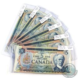 6x 1979 $5 Bank of Canada Replacement Notes (notes contain various imperfections) 6pcs