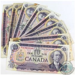 8x 1971 $10 Bank of Canada Notes with all Different Prefixes . 8pcs