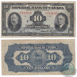 1934 $10 Toronto Imperial Bank of Canada Note.