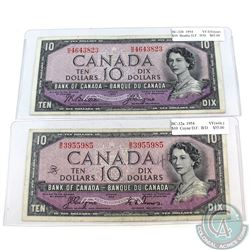 Pair of 1954 Devil's Face $ 10 Bank of Canada B/D & H/D Prefix Notes (notes contain imperfections).