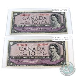 Pair of 1954 Devil's Face $10 Bank of Canada J/D & B/D Prefix Notes (notes contain imperfections). 2