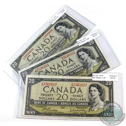 3x 1954 $20 Bank of Canada Notes Prefix Letter JE, AW,EW (notes contain various imperfection). 3pcs