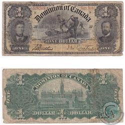 """1898 $1 DC-12a Dominion of Canada Courtney Series D """"inward one's"""" Banknote (tape/tears/holes) VG"""