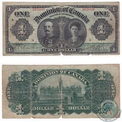 """1911 $1 DC-18a Dominion of Canada Boville """"Series B"""" Banknote (tears) VG+"""